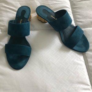Ferragamo Teal Blue Suede Sandals size 7